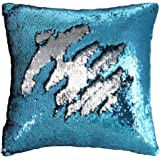 "Mermaid Pillow Case, Play Tailor Magic Reversible Sequin Pillow Cover Throw Cushion Case 16""X16""(Silver-Blue)"