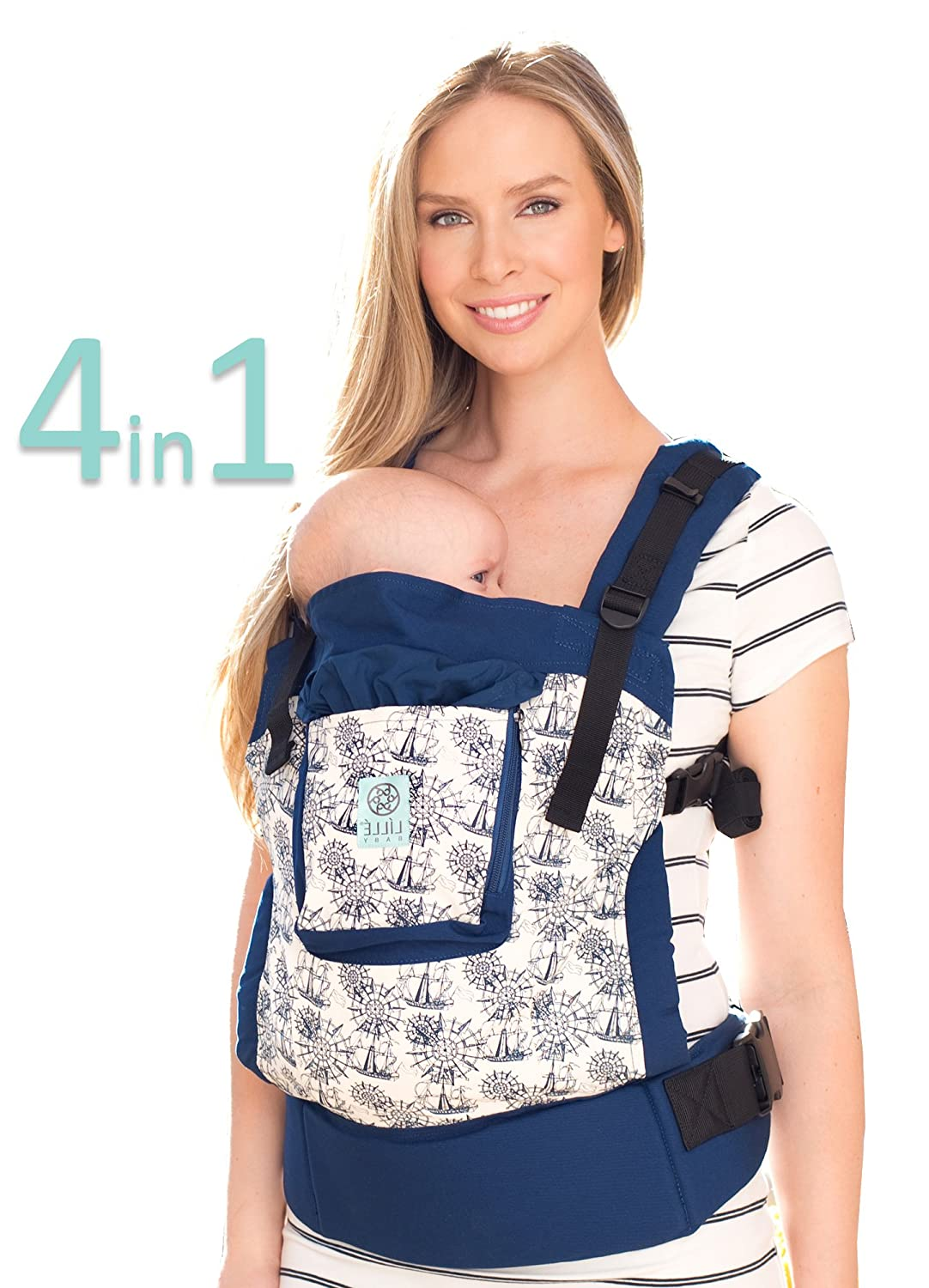 L LL baby 4-in-1 Essentials Original Ergonomic Baby Child Carrier, Blue Maritime – 100 Cotton