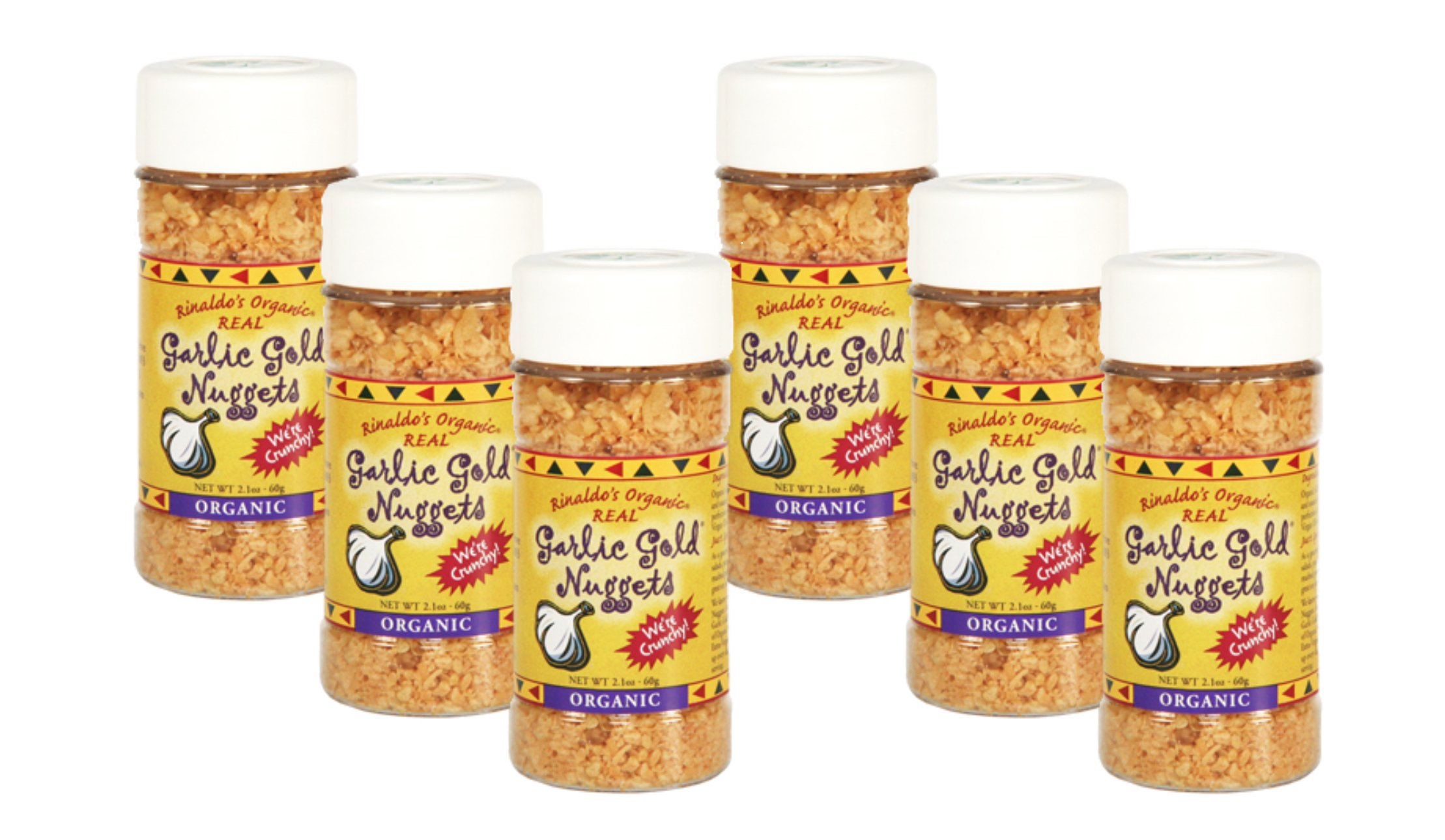 USDA Organic Garlic Gold Nuggets, Roasted Organic Garlic Seasoning Granules, Sodium Free & MSG Free, Vegan 2.1-Ounce Shaker Jar (Pack of 6)