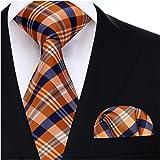 Hisdern Controllare Wedding Tie Fazzoletto Cravatta da uomo & Set tascabile