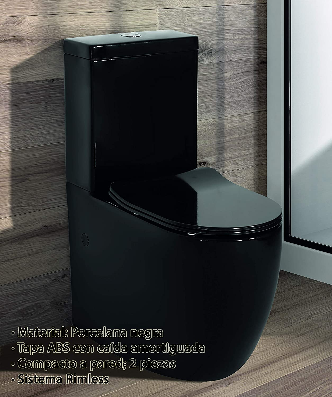 Mecanismo Economizador 3//6 Tapa Y Asiento en ABS De Cer/ámica Inodoro BLACK Compacto De Dos Piezas Alta gama Salida Dual Dise/ño Exclusivo y Moderno Sistema Rimless.