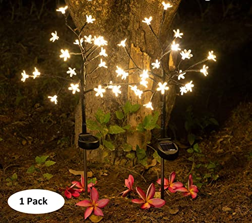 EpicGadget Solar Flower Fairy Light, Warm White Stainless Steel Solar Path Lights for Outdoor Landscape Lighting, Patio, Yard, Walkway, Driveway, Garden Warm White 1 Piece