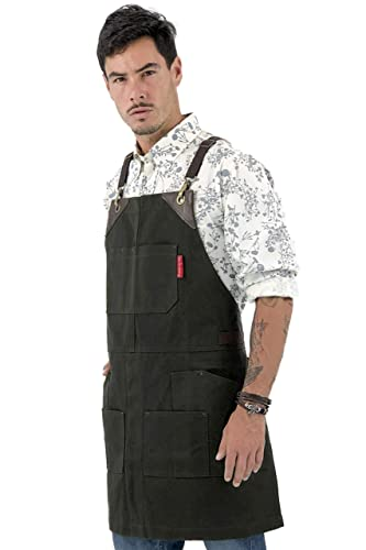 Leather Reinforcement and Split-Leg Under NY Sky Cargo Orange Apron Welder Pro Woodworker Cross-Back with Heavy-Duty Waxed Canvas Artist Aprons Adjustable for Men and Women Mechanic