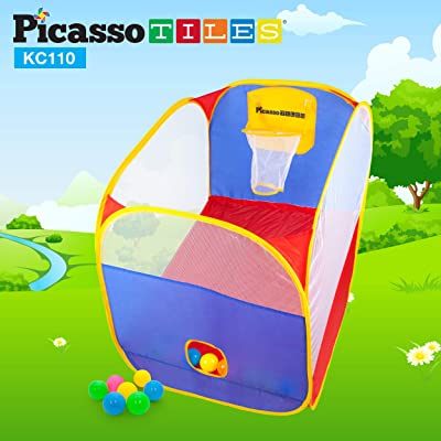 "PicassoTiles KC110 24"" x 34"" Foldable Portable Standing Kids Basketball Hoop w/ 10 Colorful Pit Balls and Zippered Storage Bag for Kids and Toddlers Travel Size Hand-Eye Training Toy (Indoor/Outdoor): Sports & Outdoors"