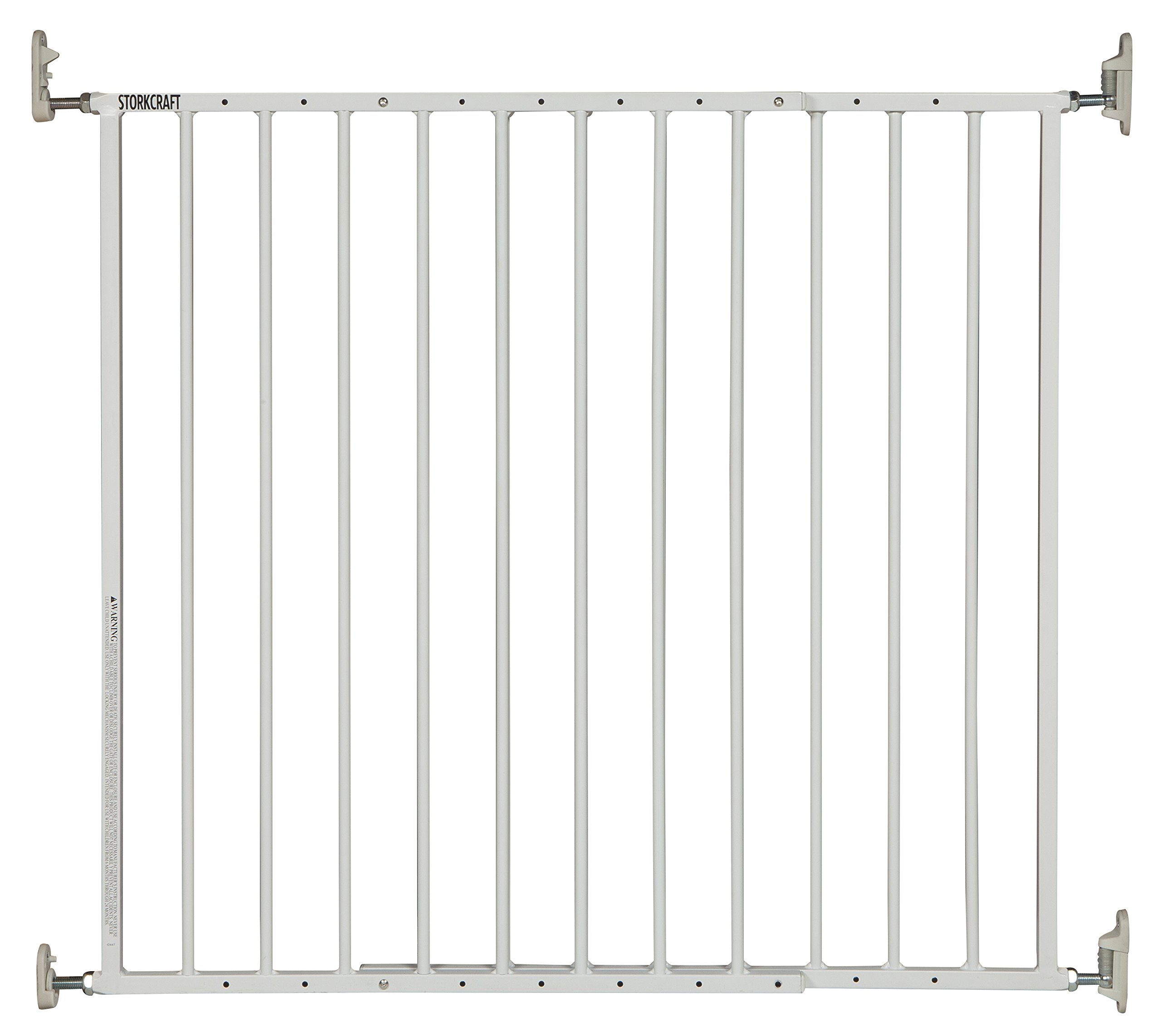 Storkcraft Easy Walk-Thru Metal Safety Gate, White, 29-inch Tall Safety Gate for Baby Dog Cat or Other Pets, One-Hand Quick-Release Lock, Adjustable Width 28.3-45.98 Inches