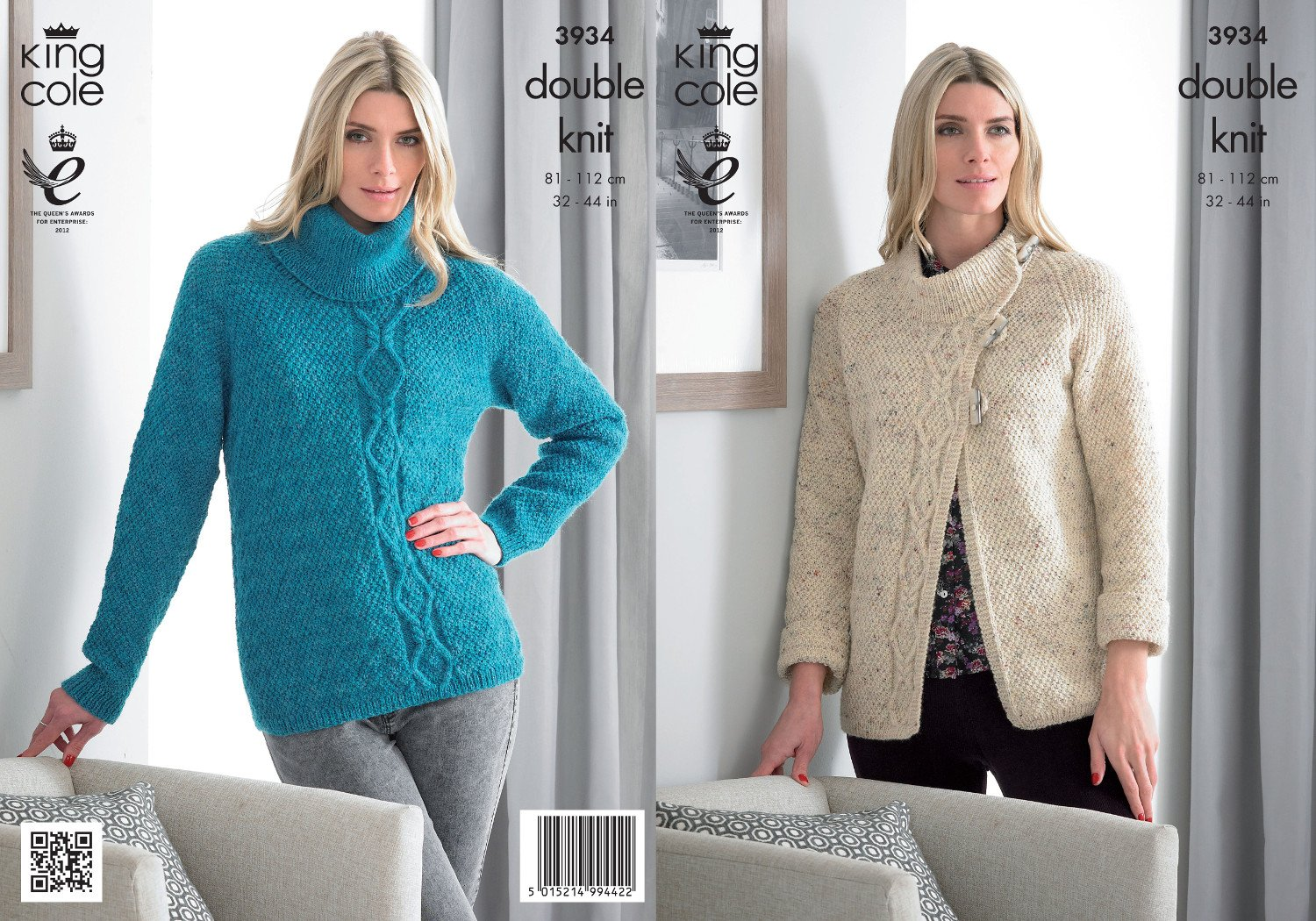 King Cole Ladies Double Knitting Pattern Womens Cable Knit Jacket & Roll Neck Sweater 3934
