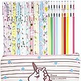 Jetec 10 Pieces Cute Gel Ink Pens Plus Unicorn Pencil Case pouch 20 Pieces Color Refill Ink, Fine Point (0.5 mm) Pen…