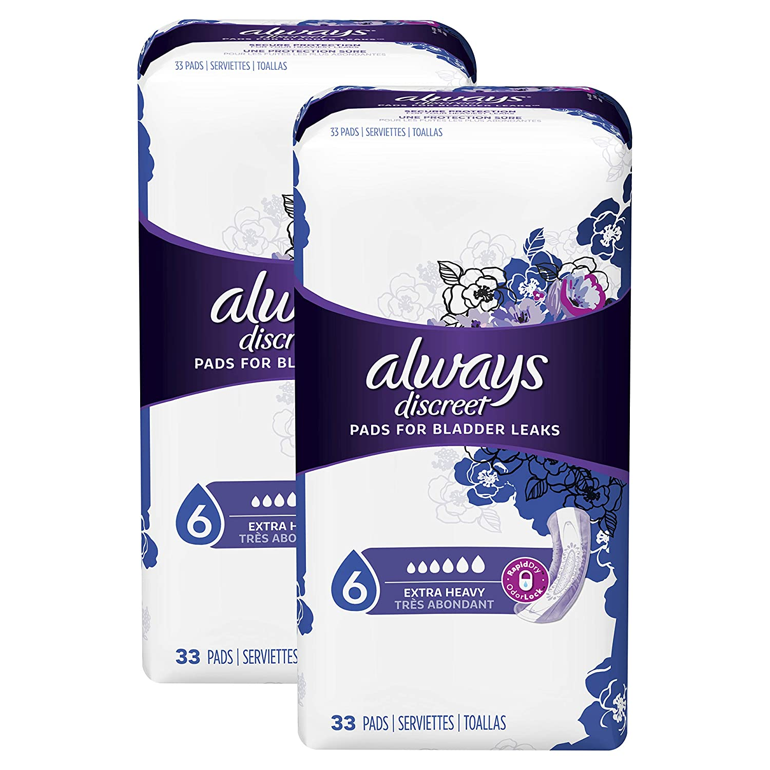 Amazon.com: Always Discreet Incontinence & for Women, Extra Heavy Absorbency, 33 Count - Pack of 2 (66 Count Total): Health & Personal Care