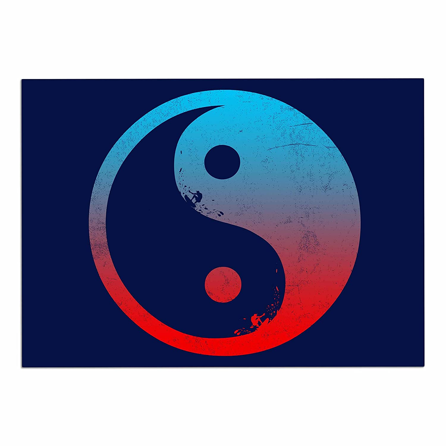 KESS InHouse FH1048ADM02 Federic Levy-Hadida Ying Yang Surfers Red bluee Dog Place Mat, 24  x 15