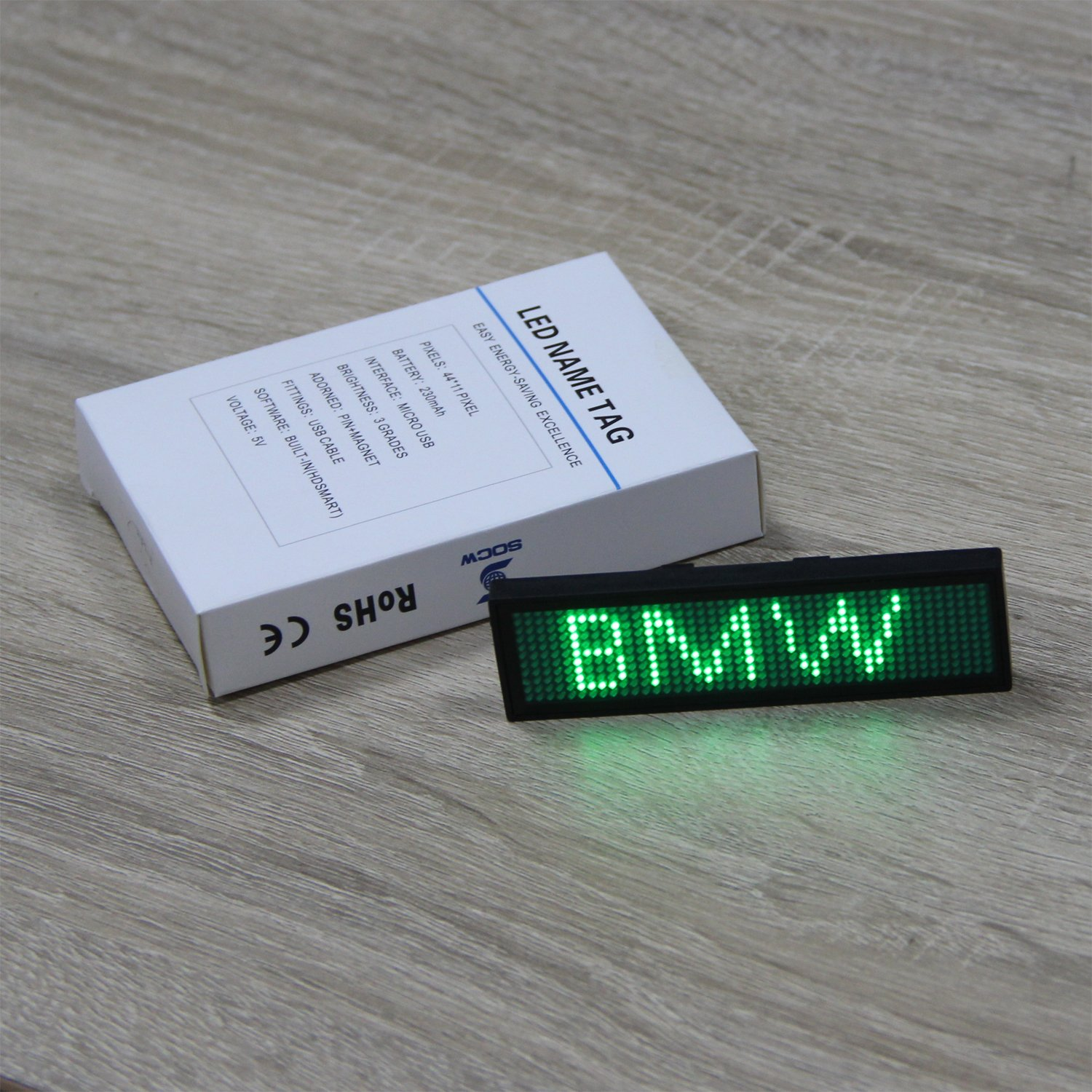 Green LED Name Badge,SOCW Reuseable Price Tag Rechargeable LED Business Card Screen with 44x11 Pixels USB Programming Digital Sign Temperature Display for Restaurant Shop Exhibition Nightclub Hotel