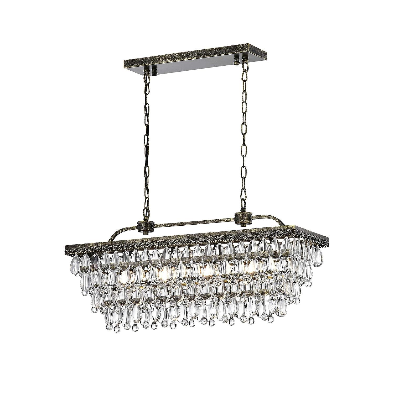 Antique copper 4 light rectangular crystal chandelier