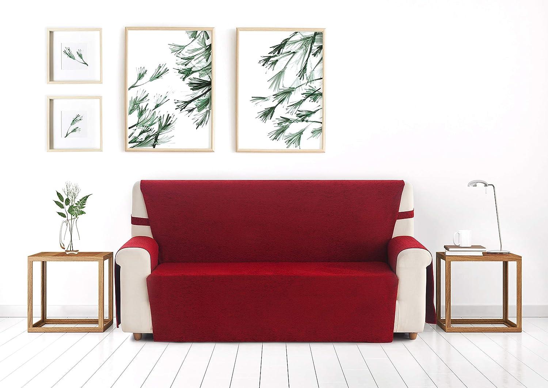 Blindecor Paula - Protector sofá 3 plazas, Color Rojo