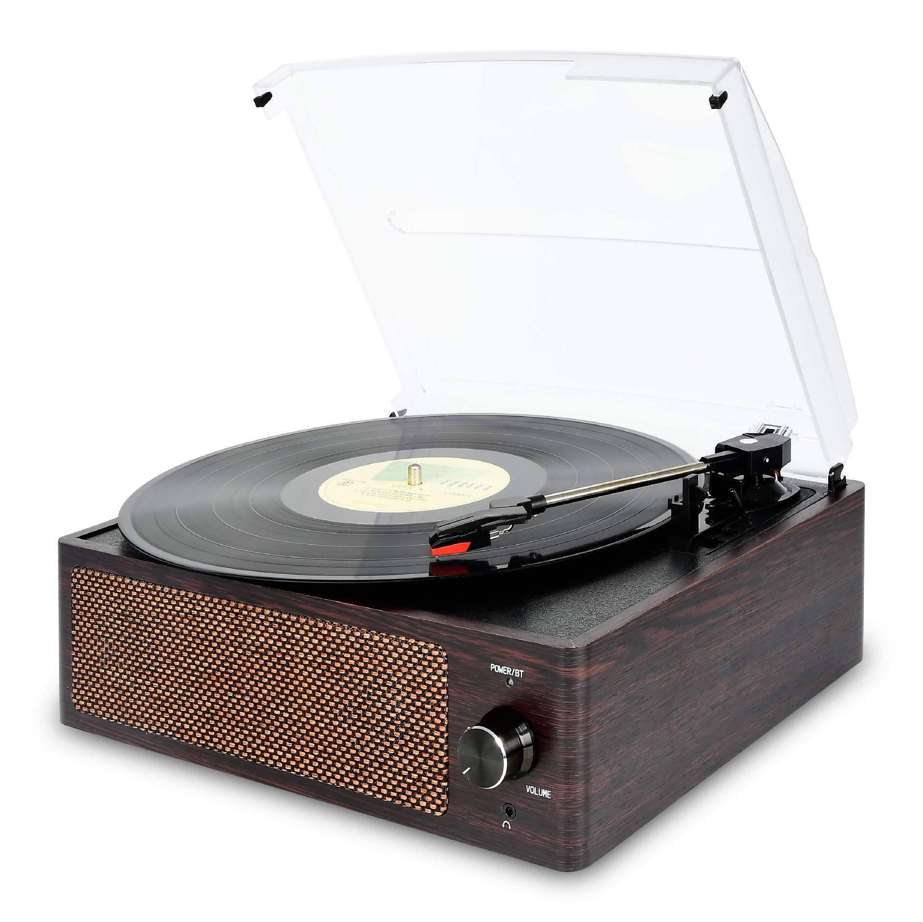 Bluetooth Record Player Belt-Driven 3-Speed Turntable, Vintage Vinyl Record Players Built-in Stereo Speakers, with Headphone Jack/ Aux Input/ RCA Line Out, Brown Wooden
