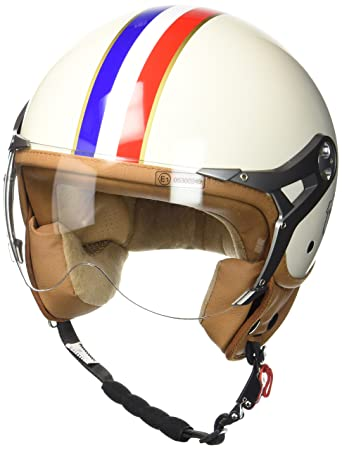 SOXON SP-325-MONO Crystal Blue /· Retro Vespa-Helm Helmet Scooter-Helm Chopper Jet-Helm Bobber Roller-Helm Pilot Cruiser Mofa Motorrad-Helm Biker Vintage /· ECE zertifiziert /· mit Visier /· inkl Stofftragetasche /· Blau /&mid