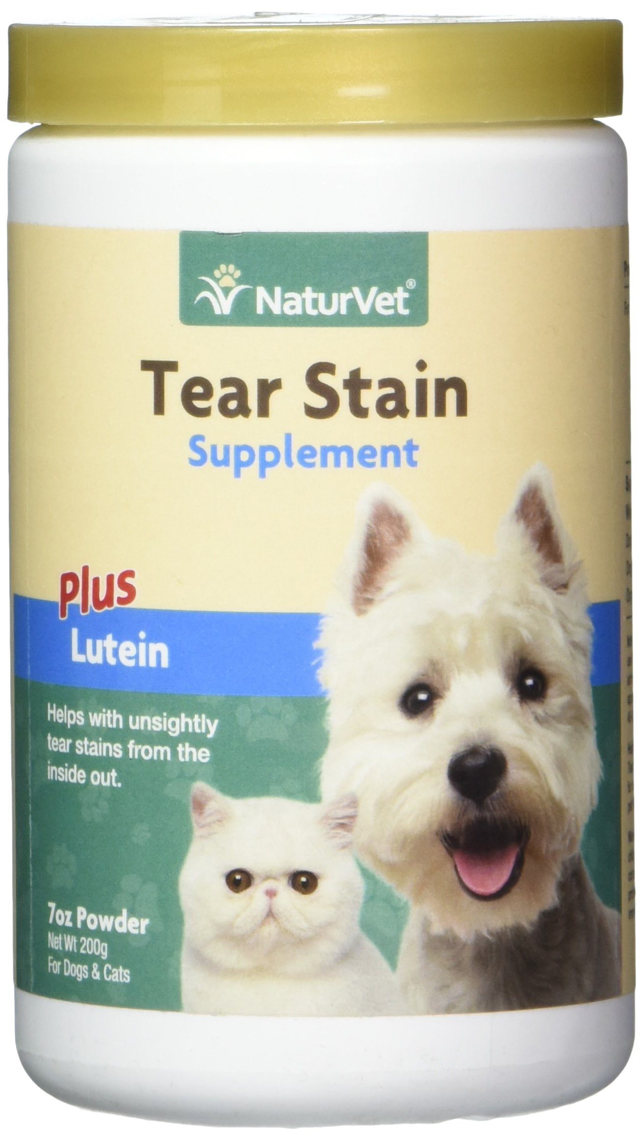 NaturVet Tear Stain Supplement Plus Lutein for Dogs and Cats 200 gm Powder Ma