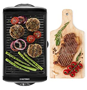 Chefman Electric Smokeless Indoor Grill - Griddle w/ Non-Stick Cooking Surface and Adjustable Temperature Knob from Warm to Sear for Customized Grilling, Dishwasher Safe Removable Drip Tray, Black