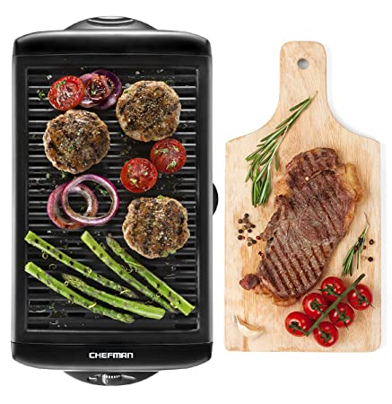 Chefman Electric Smokeless Indoor Grill, XL Non Stick Cooking Surface and Adjustable Temperature Knob from Warm to Sear Customized Grilling, Dishwasher Safe Removable Drip Tray for Easy Cleaning