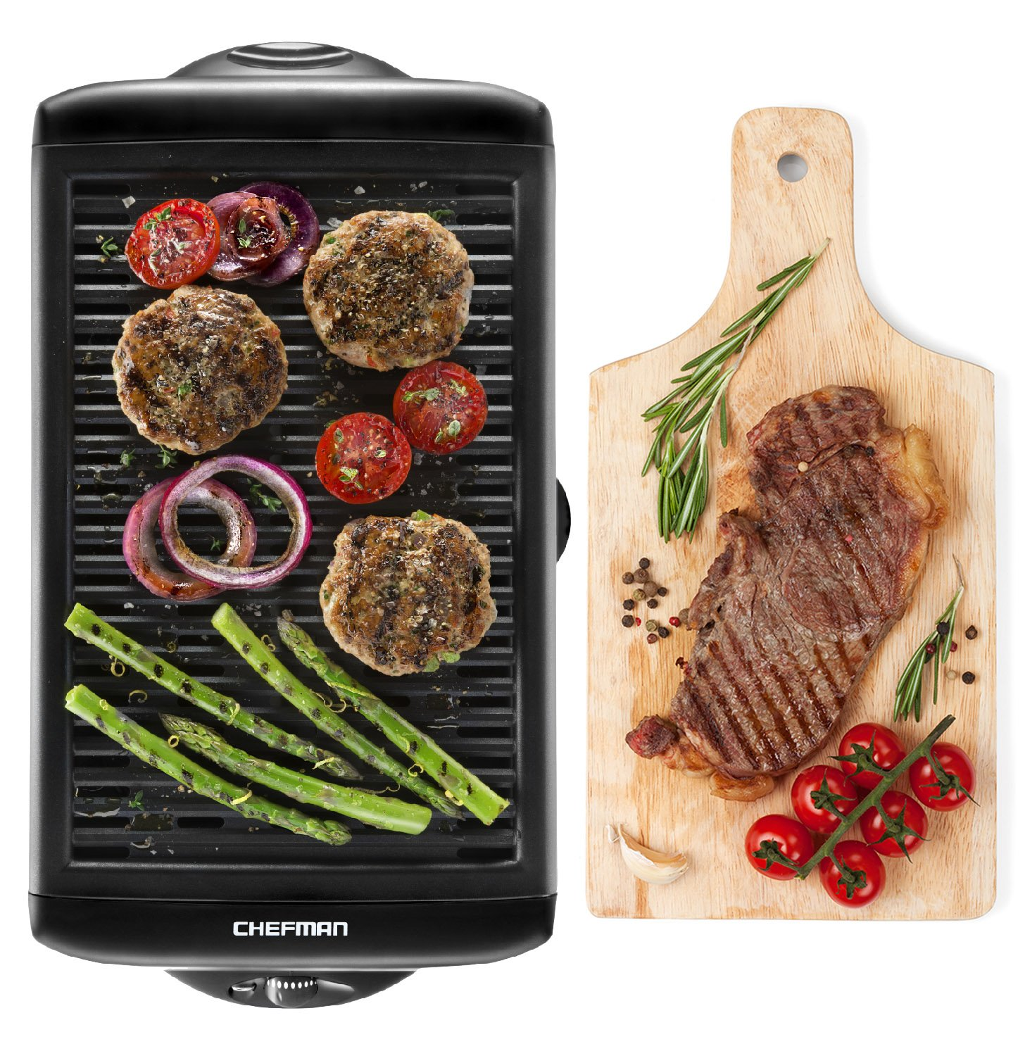 Chefman Electric Smokeless Indoor Grill - Griddle w/Non-Stick Cooking Surface and Adjustable Temperature Knob from Warm to Sear for Customized Grilling, Dishwasher Safe Removable Drip Tray, Black by Chefman