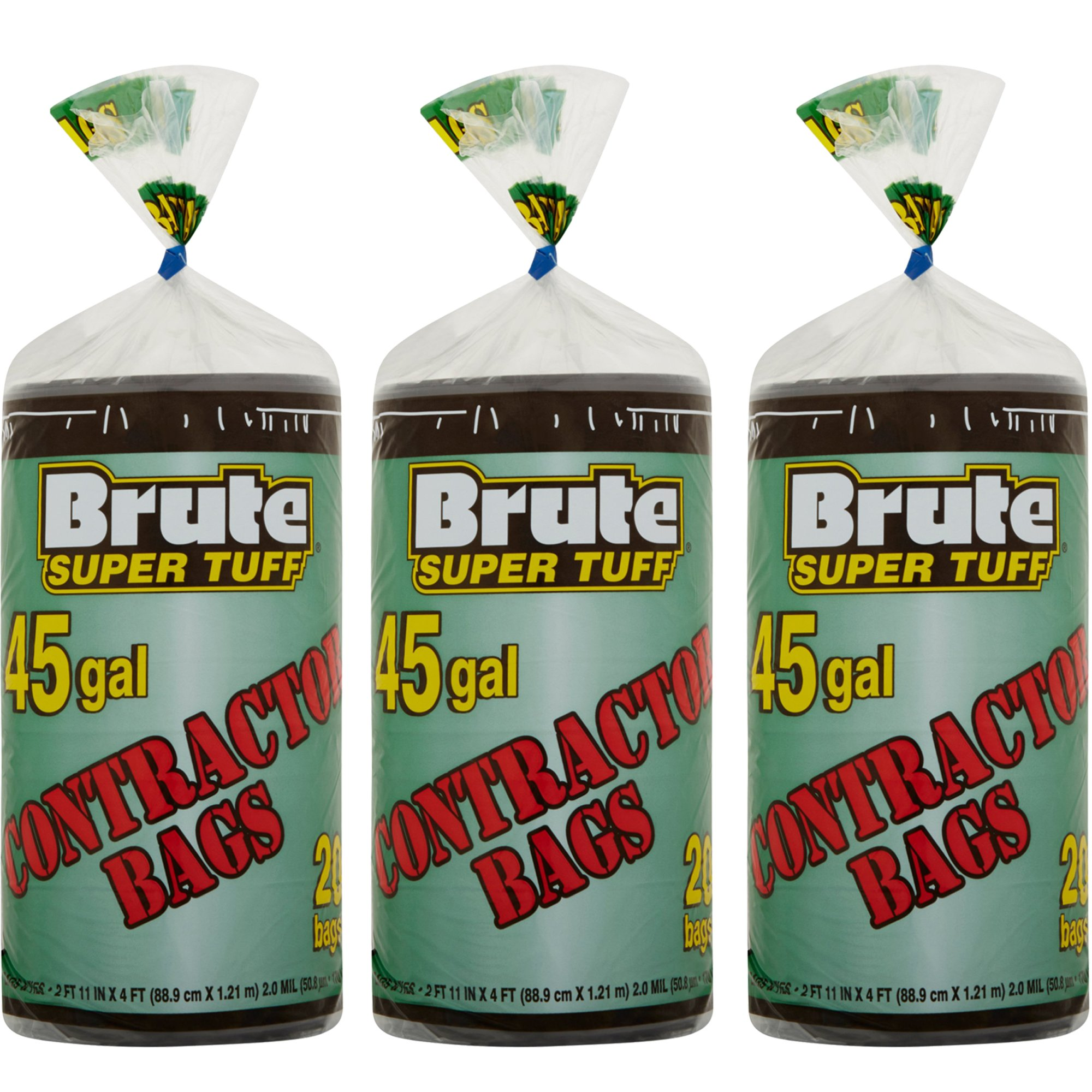 Brute Super Tuff 45 Gallon 20ct Contractor Bags, 3-Pack by Brute
