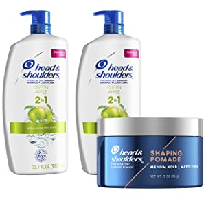 Head and Shoulders Anti Dandruff Treatment and Scalp Care 2 in 1 Shampoo and Conditioner & Shaping Pomade, Green Apple Bundle