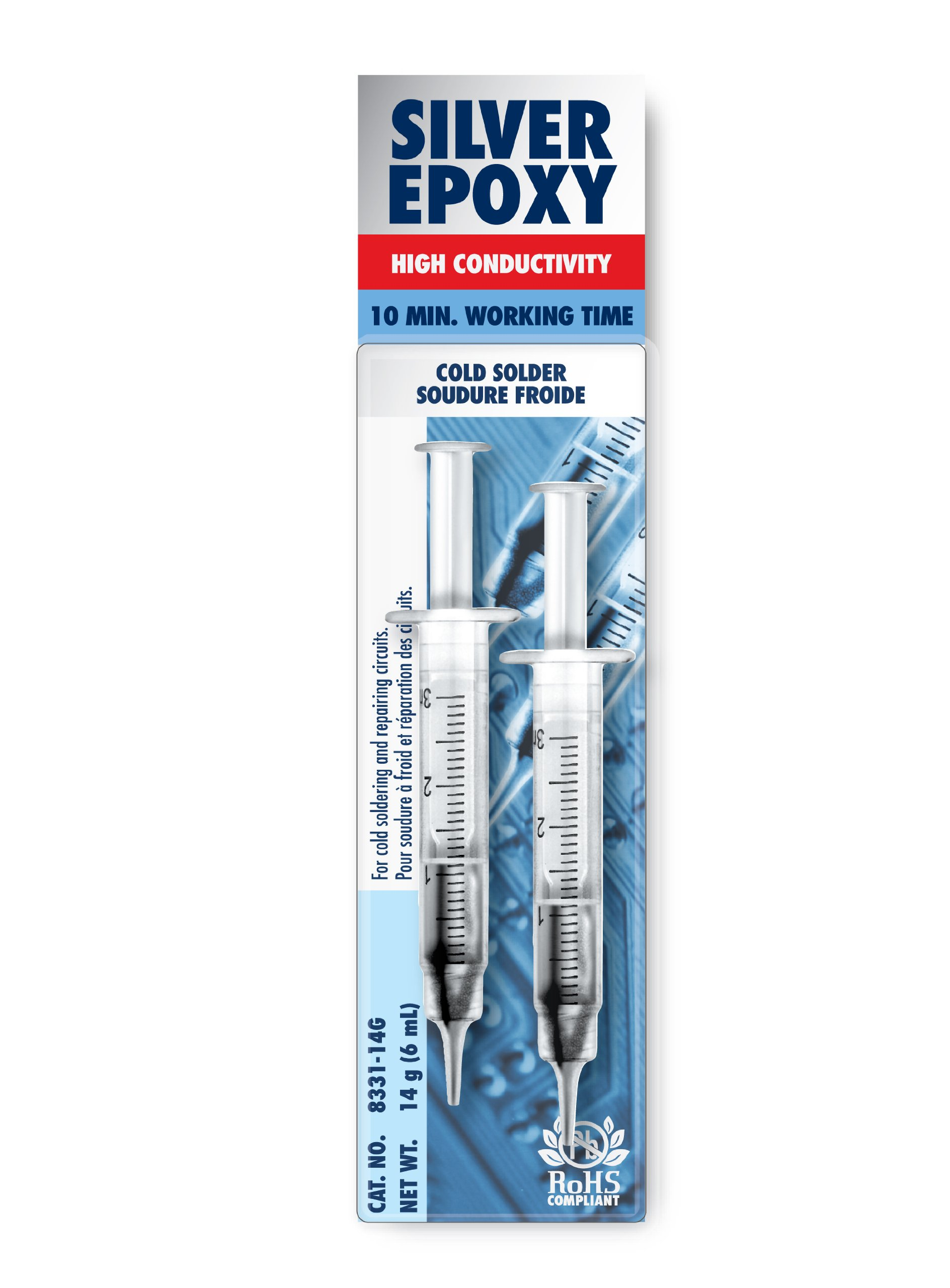 MG Chemicals 8331 Silver Epoxy Adhesive - High Conductivity, 10 min working time, 14 g, 2 Dispeners
