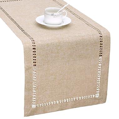 Grelucgo Handmade Hemstitch Beige Table Runner Or Dresser Scarf, Rectangular 14 by 72 Inch