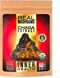 Real Mushrooms Chaga Mushroom Extract - Organic 60g Bulk Powder - Wild Harvested - Use With Shakes, Smoothies, Coffee And Tea