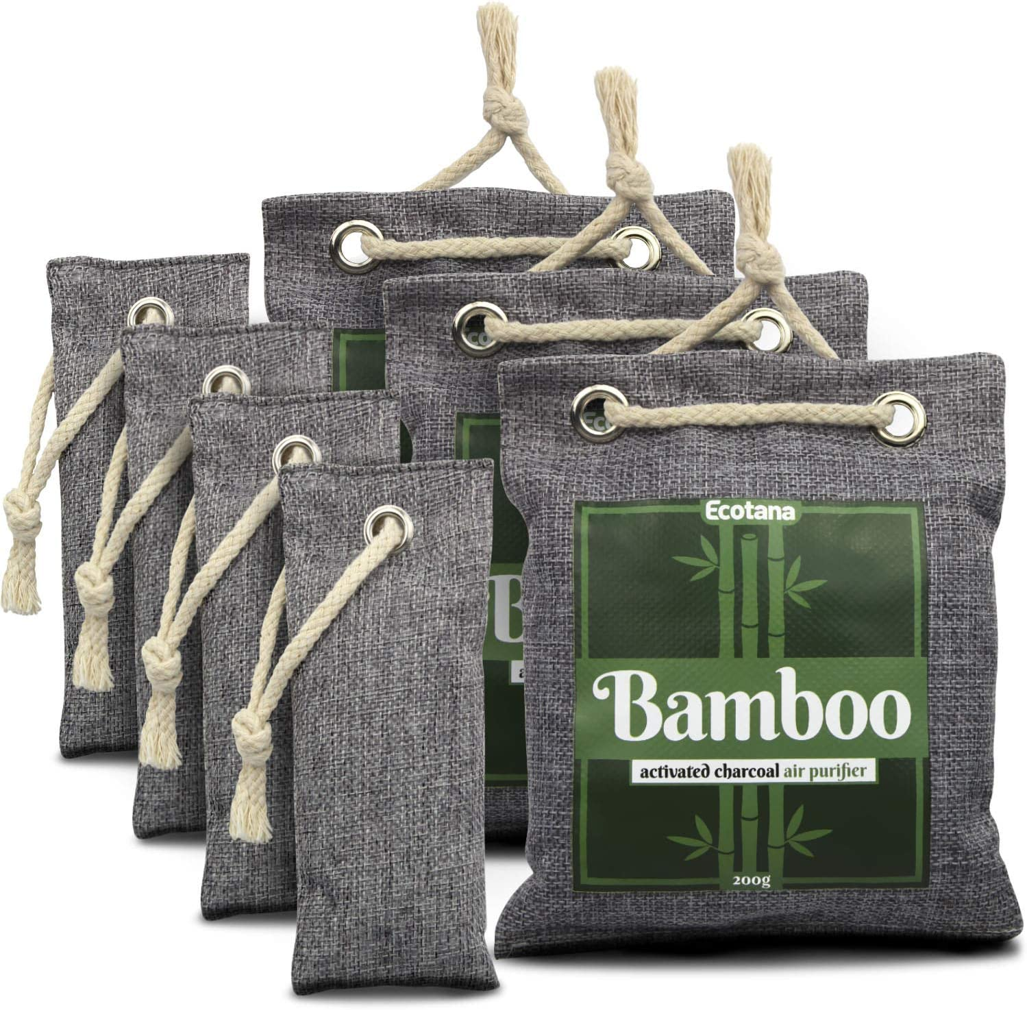 Activated Bamboo Charcoal Air Purifying Bags 7-Pack - All Natural, Non-Toxic Odor Absorber and Deodorizer for Fridge, Shoes, Bathroom, Closet, Car, Basement, RV (3 x 200g, 4 x 50g) (Kid & Pet Friendly) by Ecotana