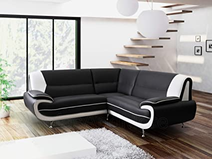 Marvelous Olafkarol Kara Olaf Faux Leather Corner Sofa Black And White Machost Co Dining Chair Design Ideas Machostcouk