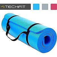 TechFit Fitness Yoga Tappetino, Extra Spessore, 180 x 60 cm, Ideale per Palestra, Esercizi del Pavimento, Campeggio, Stretching, ABS, Pilates