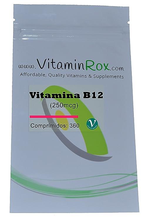 Vitamina B12 [250mcg] - 360 Comprimidos | Resealabe Foil Paquete [Vitamin B12]