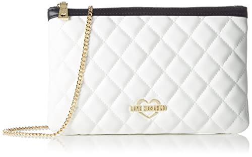 Borsa Quilted Nappa Pu Bian/cuo/ner, Womens Shoulder Bag, Multicolour (White-tan-black), 1x18x28 cm (B x H T) Love Moschino