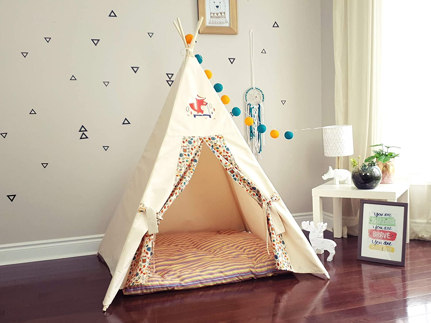 Amazon.com: The Teepee Store Owls and Skater Fox Beige Kids ...