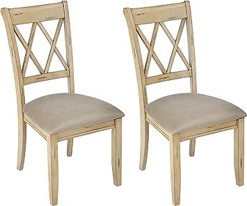 Ashley Furniture Signature Design - Mestler Dining Side Chair - Upholstered  Seat - Set of 2 - Antique White