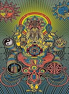 Rectangle Refrigerator Magnet - Ganesh Mantra Hindu Religion God on Throne w/ Color