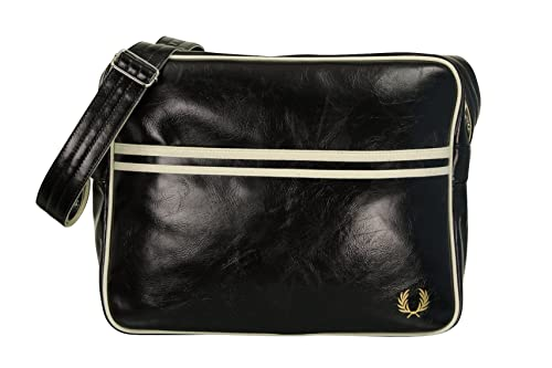 202896a04e534 FRED PERRY BORSA A TRACOLLA CLASSIC nero   ECRU BLU SHOULDER BAG PVC  37x29x11 cm UOMO DONNA UNISEX  Amazon.it  Scarpe e borse