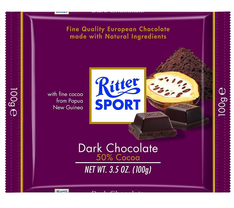 Amazon.com : Ritter Sport, Dark Chocolate 50% Cocoa, 3.5-Ounce ...