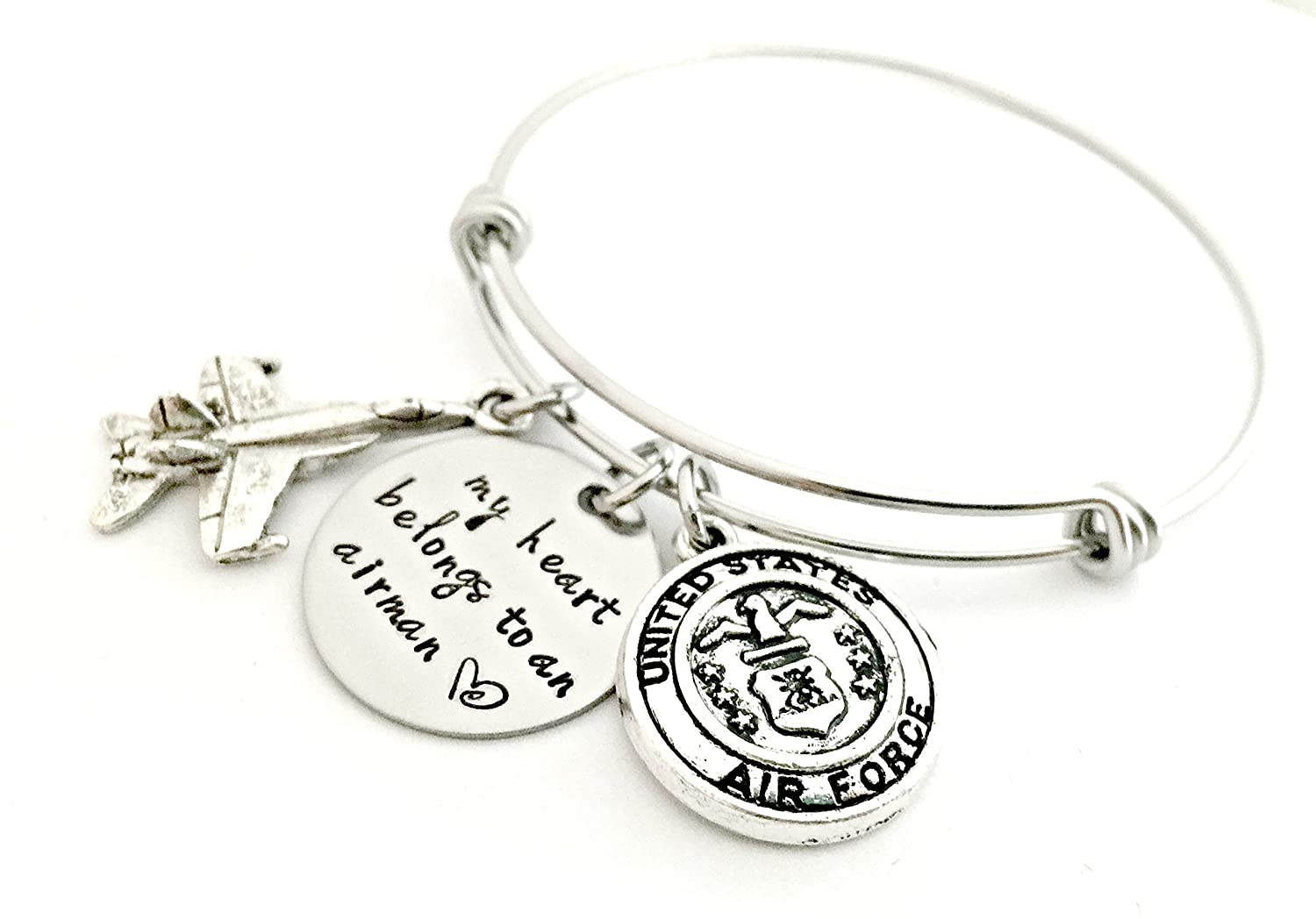 Expandable Charm Bracelet My Heart Belongs to an Airman Bangle Bracelet Air Force Going Away Gift Deployment Military Wife Fiance Girlfriend Jewelry Hand Stamped Jewelry