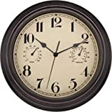 Amazon Com 12 Inch Wall Clock With Thermometer And Hygrometer Combo Vintage Silent Non Ticking Battery Operated Clock Wall Decorative Bronze Kitchen Dining