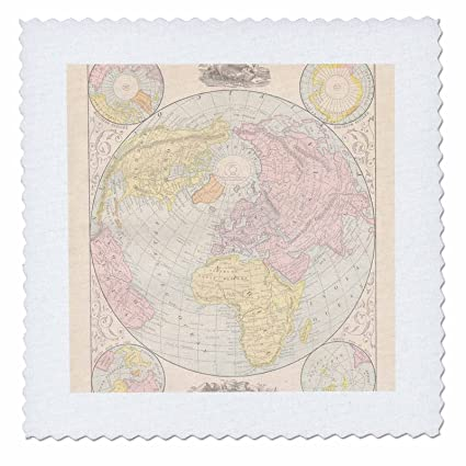 Amazon.com: 3dRose qs_178853_4 Vintage Map of The World-Quilt Square ...