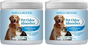 Smells Begone Air Freshener Pet Odor Absorber Gel - Made with Natural Essential Oils - Absorbs and Eliminates Odor in Pet Areas, Bathrooms, Cars, & Boats (15 Ounce) (Pet Soothing Breeze Scent 2 Pack)