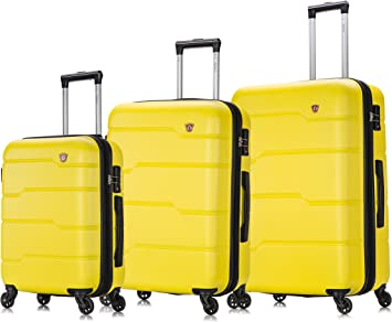 DUKAP Luggage Suitcases with Wheels Rodez Collection Lightweight Hardside Spinner 28 inches Yellow