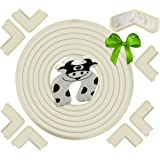 Edge & Corner Guard Set | Extra Long 22feet [20.4feet Edge + 8 Pre-Taped Corners] - Cream White - Peace Of Mind Childproofing Protector - Door Slammer Guard Included…