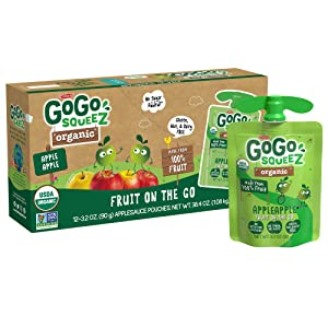 GoGo squeeZ Organic Applesauce, Apple Apple, 3.2 Ounce (12 Pouches), Gluten Free, Vegan Friendly, Unsweetened Applesauce, Recloseable, BPA Free Pouches