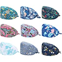 SATINIOR 9 Pieces Gourd-Shaped Working Caps with Sweatband Adjustable Bouffant Button Hats Tie Back Hats for Women Men