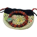 Amazon Price History for:Embedded Yak Bone Rudraksha Wrist Mala Medicine Bracelet Turquoise Om Bead Free Silk Drawing String Pouch