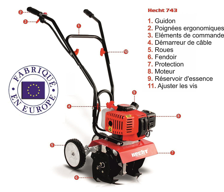 HECHT Gasolina - gartenfräse 743 motoazada 2 PS, 23,5 cm ancho de ...