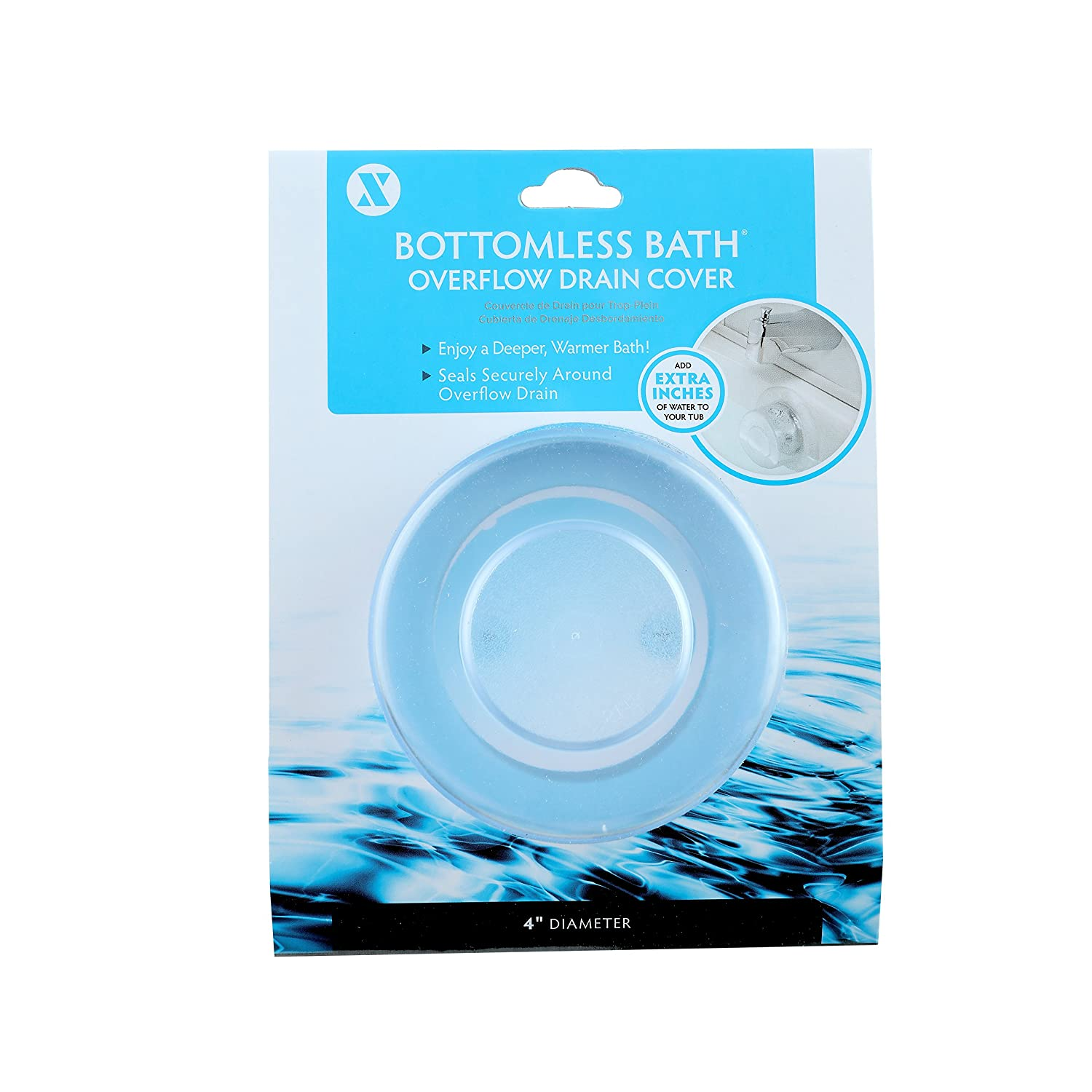 SlipX Solutions Bottomless Bath Overflow Drain Cover Adds Inches of ...