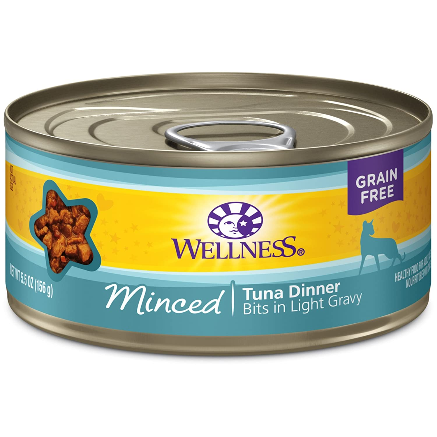 Wellness Natural Grain Free Wet Canned Cat Food Minced Tuna