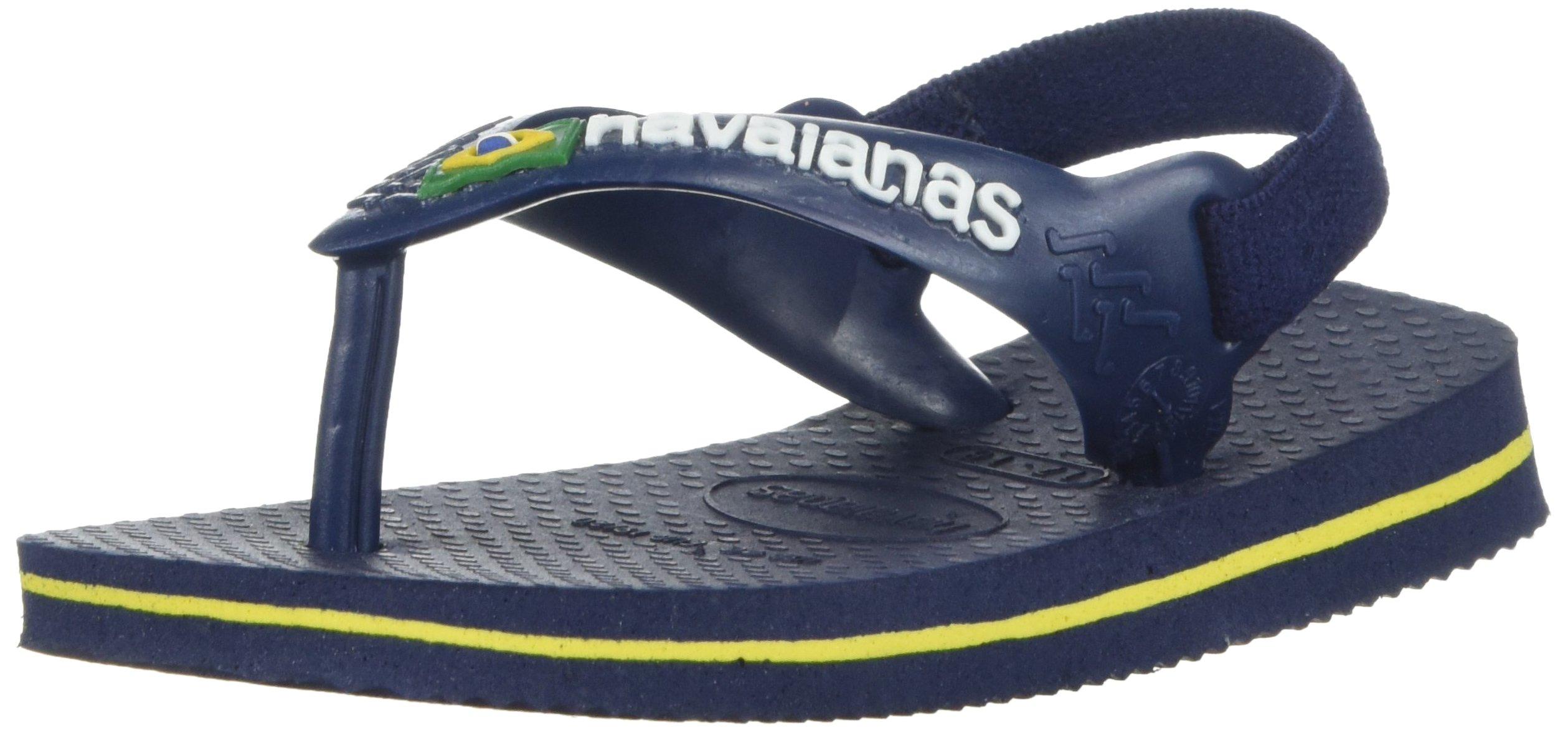 Havaianas Kids' Flip Flop Sandal, Brazil Logo Coral,Navy Blue/Citrus Yellow,22 BR (8 M US Toddler)